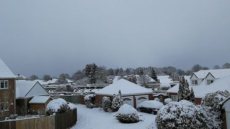 Cawston covered in snow. Overlooking the cemetery. Picture: DONNA-LOUISE BISHOP