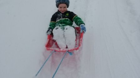 Connor Betts, six, playing in the snow in Cawston. Picture: ANNEKA BETTS