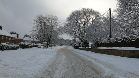 Cawston covered in snow. Main road. Picture: DONNA-LOUISE BISHOP