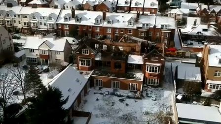 Drone footage captures the aftermath of a large fire at a former Sheringham hotel. Picture: Morgan P
