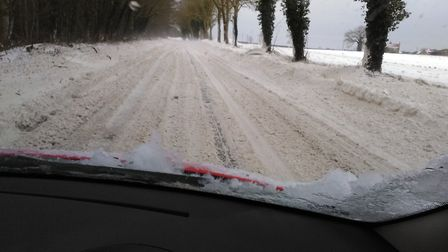 A car stopped on the A149 in north Norfolk, near the Gunton Arms, this morning (Thursday, March 1).