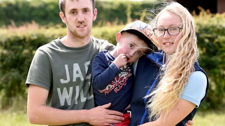 Kyra Welch and her partner Kieron Griffin with their son Kaiden Griffin. Picture: Nick Butcher