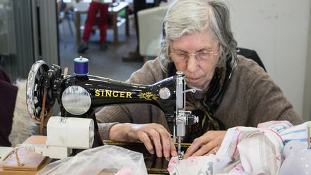 Octogenarian Sheila Stringer, who travelled from her home at Diss to help make dresses for Ugandan y
