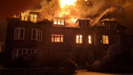 The fire at the former Southlands Hotel in Sheringham. Picture: Ian Roper