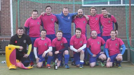 North Norfolk HC Men's first team, Champions of Division Four North East. Standing (left to right):