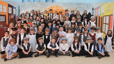 The cast of the Cromer Junior School Year 4 production of the musical Oliver! Photo: KAREN BETHELL