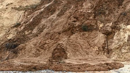 Part of a cliff collapsed at Trimingham in north Norfolk. It was caught on video by Michelle Savage.
