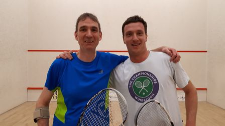 Martin Sanville (left) and Matthew Jordan pose for a picture after their final, which Jordan won 3-0