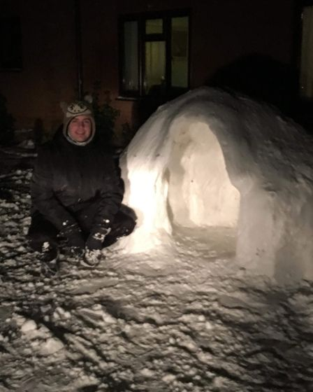 Steven Doggett, of Cawston, made an igloo. It took him five hours with a little help from his girlfr