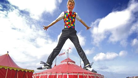 Circus clown Alex Morley, who has teamed up with magician Evan Boothby to tour Norfolk village halls
