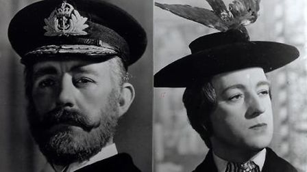 Sir Alec Guinness in two of the six roles he played in the Ealing Comedy Kind Hearts and Coronets. P