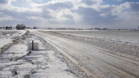 The B1145 is completely clear when the snow isn't blowing. Picture: Christon Illiffe
