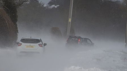 A car moments before skidding into a snow bank. Picture: Christon Iliffe