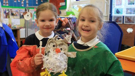Holt Primary School pupils Jenna and Cheyanne with one of the egg box owls which will form part of a
