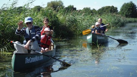 Canoeists enjoying a stretch of the upper canal during a North Walsham and Dilham Canal Trust open d