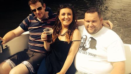 Matthew Mills, right, with friends in July 2014, before his weight loss. Pictures: Supplied by Matth
