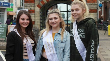 Sheringham carnival queen Mollie Gallon with attendants Niamh Craske (left) and Caitlin Doran. Photo