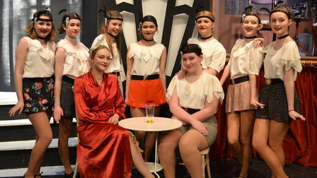 Tallulah and the dancers in Bugsy. Picture: Joe Nicholls, Sheringham Little Theatre