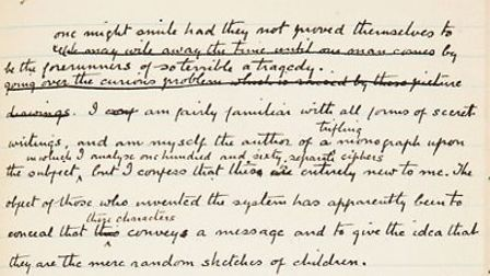A handwritten manuscript of the Sherlock Holmes story The Adventure of the Dancing Men by Sir Arthur