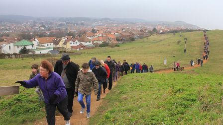 Worshippers making their way to the top of Beeston Hilll. Photo: KAREN BETHELL