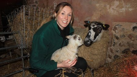 Emma Williams in the hospital wing of Felbrigg Hall Farm, which is run by her parents Graham and Wen