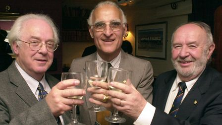 Entente Cordiale..... A toast to the future of the two societies. Ron Fiske, left, pictured in 2001