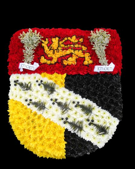 Norfolk's crest in flowers, which was prepared for his funeral to reflect his love of both the count
