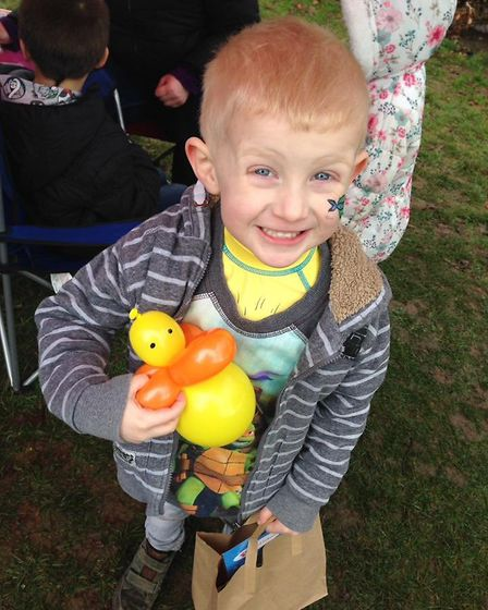 Children, including little Alfie, enjoyed an Easter Egg Hunt at North Walsham Memorial , organised b