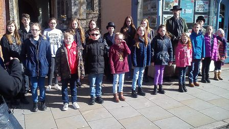 The Oliver flash mob in North Walsham. Picture: Red Loft Theatre