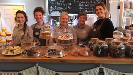 Members of the team at Hatters Tea Shop in Cromer, from left, Neve Reynolds, Jess Clegg, Carol McNar