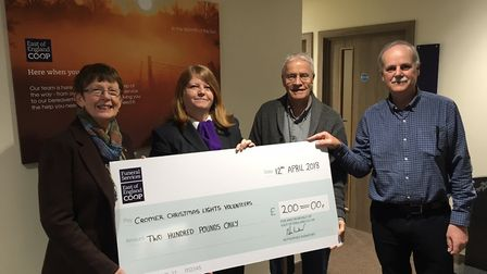 From left, Judy Whittingham, Mary Wilson, Jim Bond and David Whittingham with the cheque for the ne