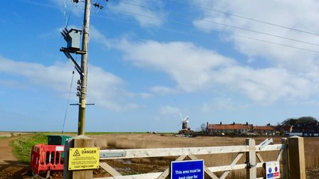 Views showing the area around Cley before the planned removal of the overhead lines. Picture: UK Pow