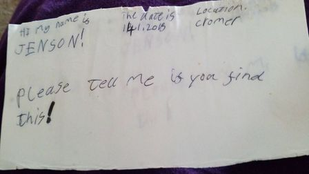 Jenson's note which was found in the bottle. Picture: Victoria Lees