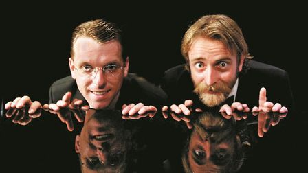 Duncan Walsh Atkins, left, and Tim Fitzhigham and as Flanders and Swann. Picture: Steve Ullathorne