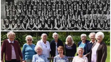 North Walsham Girls High School class of 1947 in a photograph from 1952 and again in 2018 at their r
