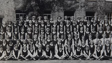 North Walsham Girls' High School class of 1947 in a photograph from 1952. From left, in the fourth r