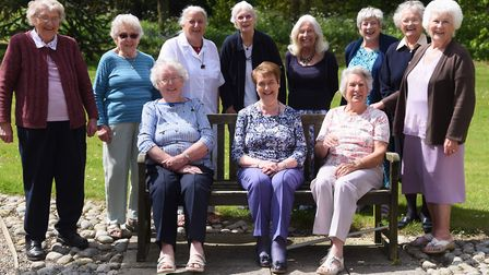 The reunion of the North Walsham Girls' High School class of 1947. From left, front, Betty Bush, org