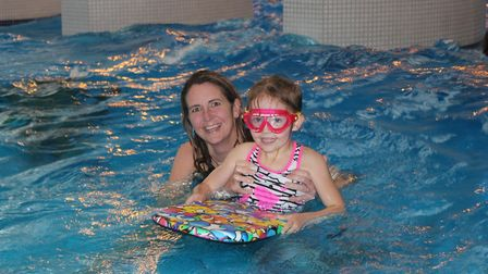 Five-year-old Josie Humphrey at the Splash pool party with mum Katrina, who remembers meeting Prince