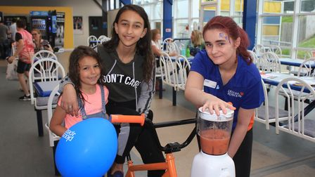 The smoothie bike in action at the 30th anniversary celebrations of Sheringham leisure centre Splash