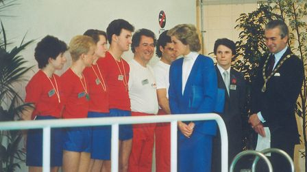Princess Diana meeting Splash Leisure and Fitness Centre staff in 1988. Picture: Archant