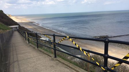 The railings have been taped off since the weekend. Pictures: David Bale