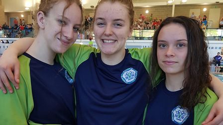 North Norfolk Vikings Swimming Club members (from left): Mollie White, India Weston and Leah Harris,