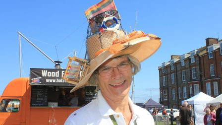 Cromer and Sheringham Crab and Lobster Festival joint president Hilary Cox sporting a Cromer-themed