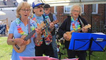 The Seaside Strummers entertaining visitors to the Cromer and Sheringham Crab and Lobster Festival P