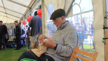 Tucking into some local fare in the heritage marquee Photo: KAREN BETHELL