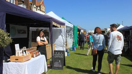 Browsing the 50-plus stalls at Cromer and Sheringham Crab and Lobster Festival Photo: KAREN BETHELL