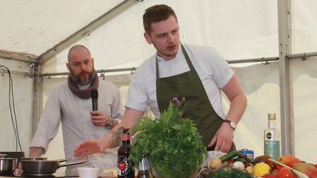 Chefs in action at the cookery theatre on Evington LawnsPhoto: KAREN BETHELL