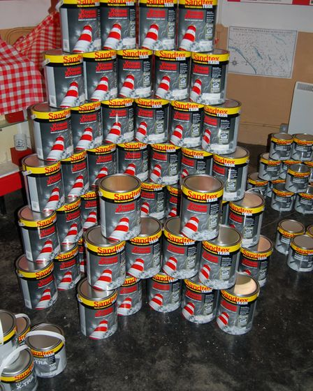 The paint which will be used to redecorate the lighthouse. Picture: Happisburgh Lighthouse