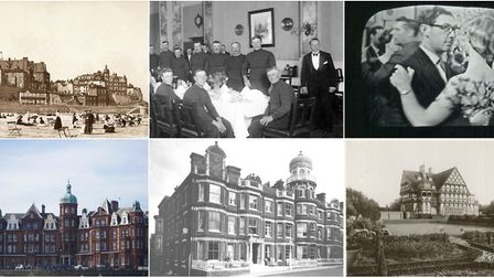Clockwise from top left, Cromer seafront around 1905, with the Metropole left of centre, at a recept