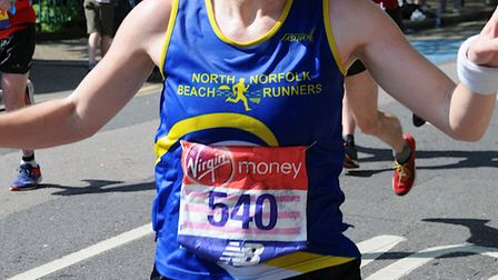 Charlotte Neale led the North Norfolk Beach Runners challenge at the London Marathon. Picture: CLUB